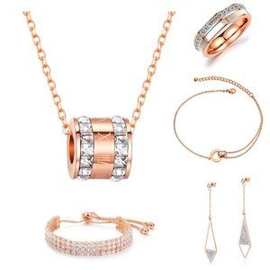 OPK Jewelry Set Full Diamond Rose Gold Necklace